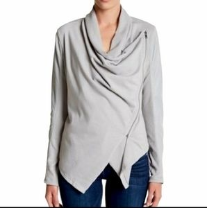 Blank NYC Gray Faux Leather Drape Front Jacket